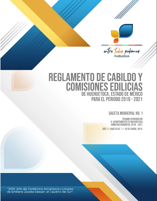 Gaceta No. 1 Reglamento de Cabildo y Comisiones Edilicias